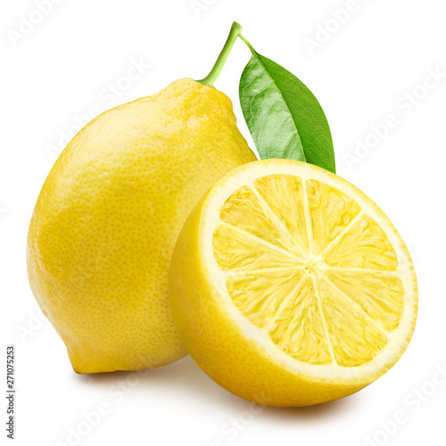 Cuadros en Lienzo Group of lemons with leaves, isolated on white background