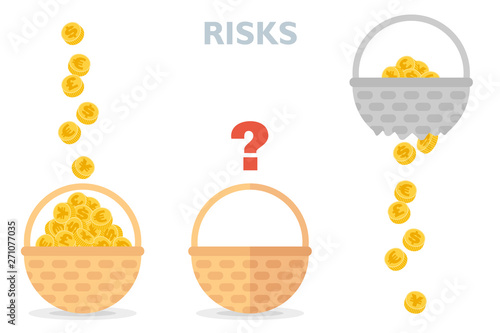Never put all eggs in one basket vector illustration of risks diversification