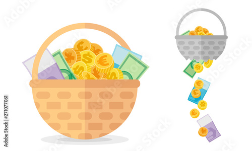 Basket with coins and banknotes and broken one. Investment concept about necessary of diversification vector illustration