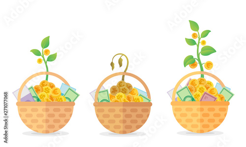 Illustration of investment idea, stocks and asset allocations: 3 different basket with money and growing plant with coins in it