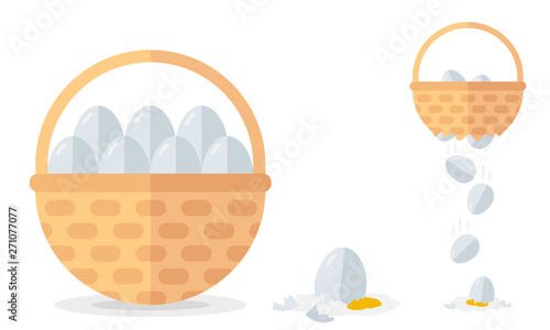 Financial diversification idea on basket with eggs example. Never put all eggs in one basket vector illustration