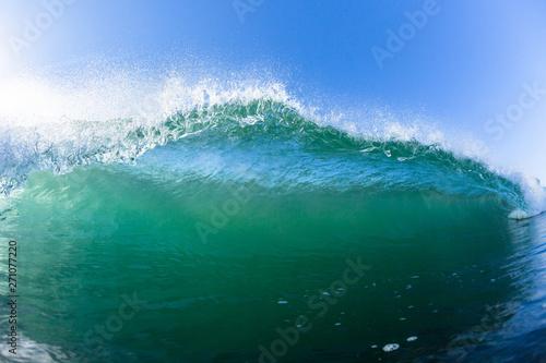 Ocean Swimming Inside Hollow Crashing Wave Closeup Water Photo