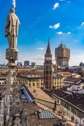 Wall Murals Milan Milan skyline view from Milan Cathedral (Duomo di Milano) rooftop