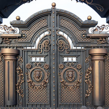 New Forged Metal Massive Gates With A Wicket And Two Arches, Golden Gray, Made In Antiquity.
