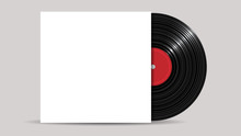Vinyl Record With Cover Mockup, Realistic Style