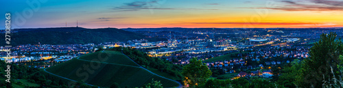 Türaufkleber Blaue Nacht Germany, XXL landscape panorama of illuminated skyline of downtown city stuttgart at sunset from above in summer
