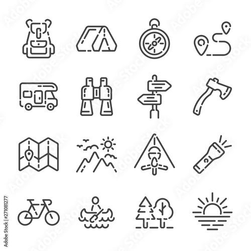 Fototapeta Set of camping trip or tourism outline icons. Vector illustration. obraz na płótnie