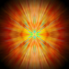 Bright Rays Of Light Of Red And Yellow Shine From The Center Forming A Circle On A Black Background.