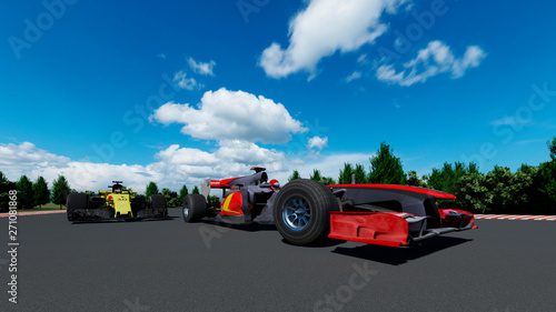 Recess Fitting F1 The image of sports car F1 3D illustration