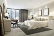 Leinwanddruck Bild - 3d render modern hotel room