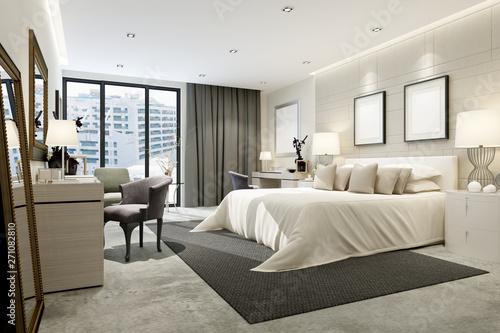 Fototapeta 3d render modern hotel room obraz