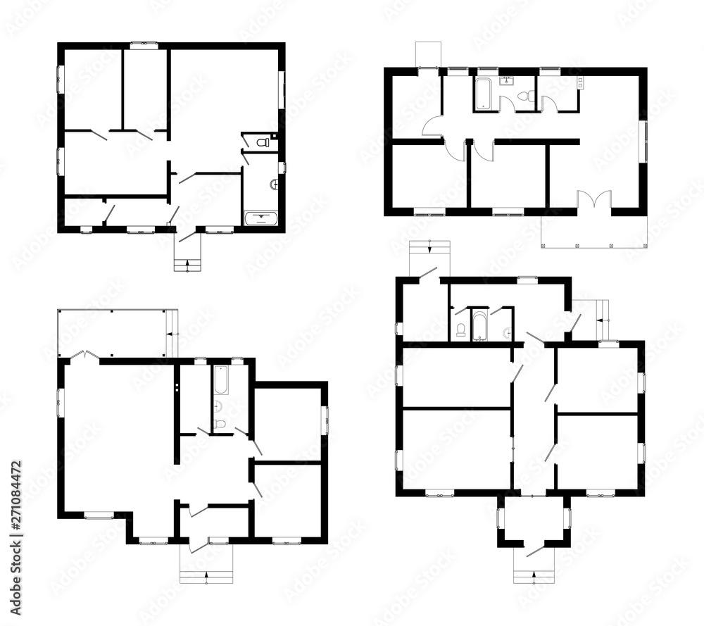 Fototapety, obrazy: Set of ground floor blueprints. Vector unfurnished floor plans for your design. Suburban house set.