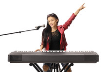 Smiling Young Woman Playing A ...