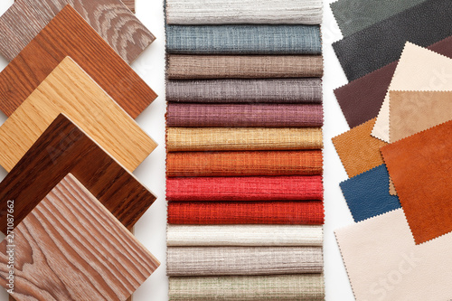 Obraz samples of parquet, fabric for curtains, and leather for the work of the interior designer. - fototapety do salonu