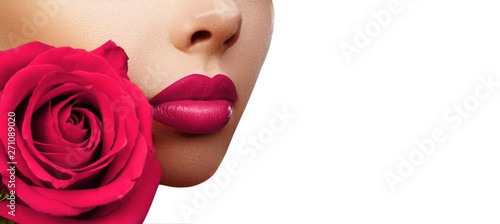 Lips with Bright Lipstick Makeup. Beautiful Macro with Tender Pink Rose Flowe...