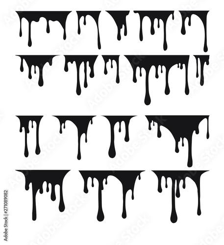 Fototapety, obrazy: Big set of black paint drips. Vector illustration for your design.