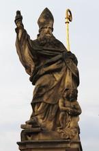 Saint Augustine Statue In Prague, Czech Republic