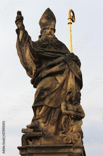 Fotografering  Saint Augustine statue in Prague, Czech Republic
