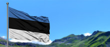 Estonia Flag Waving In The Blue Sky With Green Fields At Mountain Peak Background. Nature Theme.