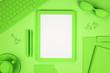 Leinwandbild Motiv Abstract green workplace with tablet