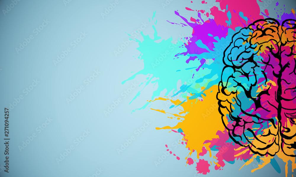 Fototapeta Creative brain drawing - obraz na płótnie