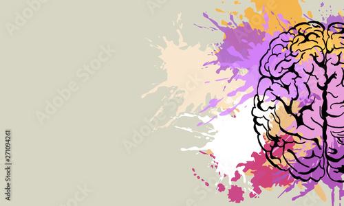 Fototapeta Creative brain doodle obraz na płótnie