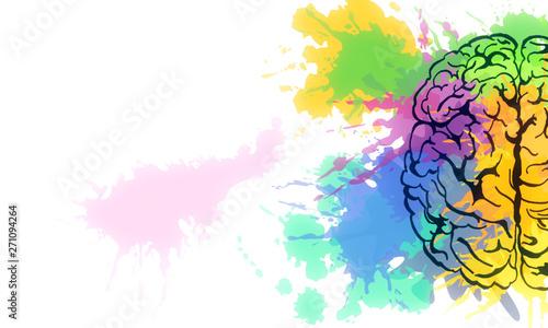 Fototapeta Creative brain sketch obraz na płótnie
