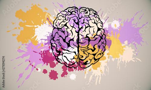 Fototapeta Abstract brain sketch obraz na płótnie