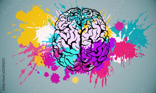 Fototapeta Abstract brain drawing obraz na płótnie