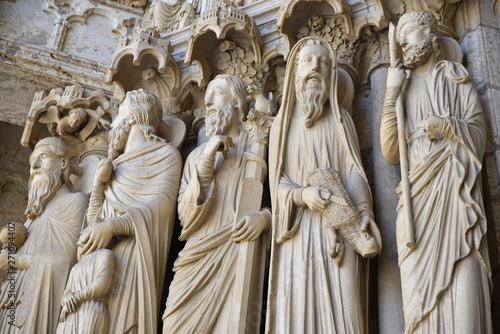 Leinwand Poster Statues de la cathédrale de Chartres