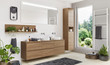 Beautiful modern bathroom with two sinks and a large window
