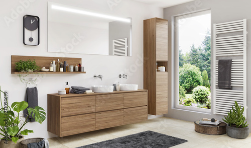 Photo  Beautiful modern bathroom with two sinks and a large window