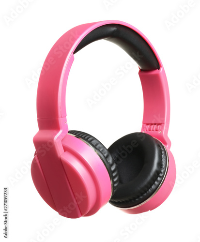 Stylish headphones with pads on white background - 271097233