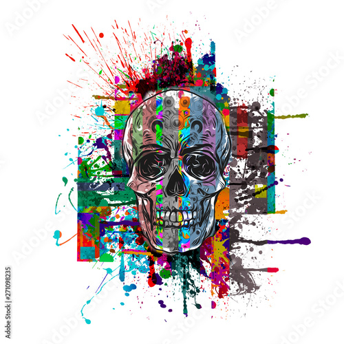 abstract, art, artistic, artwork, backdrop, background, bone, bright, color, colorful, cranium, death, decorative, design, drawing, element, graphic, grunge, horror, human, illustration, modern, paint