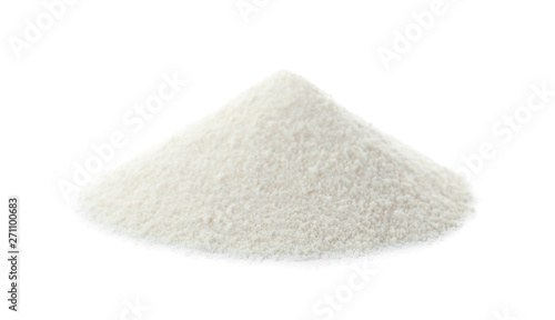 Fototapeta Pile of protein powder on white background obraz