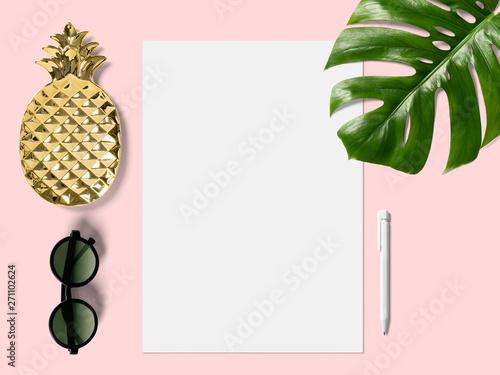 Obraz na plátně  modern minimalistic business desk with monstera leaf