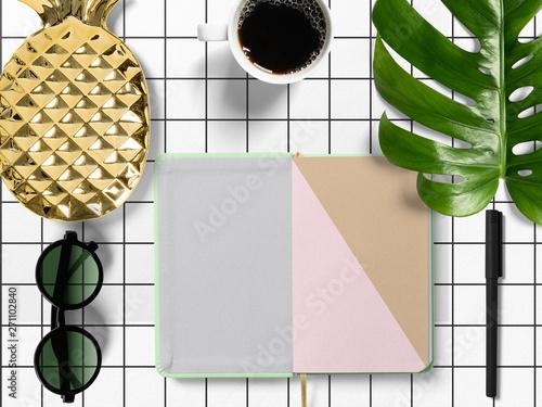 Fototapeta  modern minimalistic business desk with monstera leaf