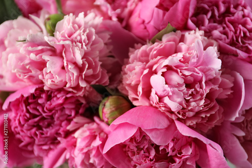 Foto op Canvas Hydrangea Fragrant peonies as background, closeup view. Beautiful spring flowers