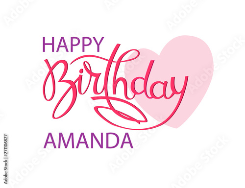 Birthday greeting card with the name Amanda Canvas Print