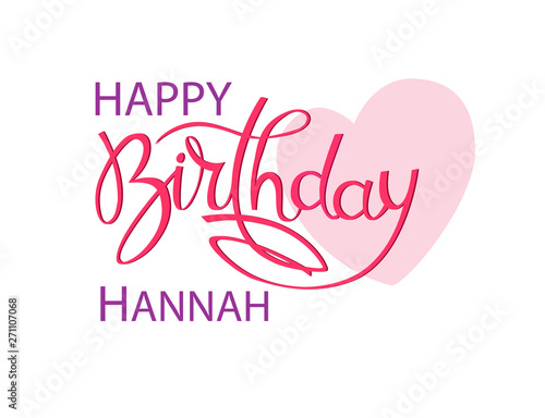 Photo  Birthday greeting card with the name Hannah