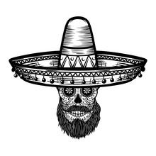Mexican Sugar Skull In Sombrer...