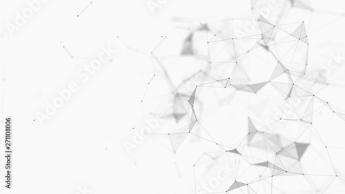 Fototapeta Abstract white digital background. Big data visualization. Science background. Big data complex with compounds. Lines plexus. obraz