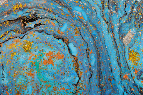 Beautiful abstract painting is a painting technique Ebru .Turkish Ebru style on the water with acrylic paints wring wave.Stylish combination of luxury.Contemporary art marble liquid texture