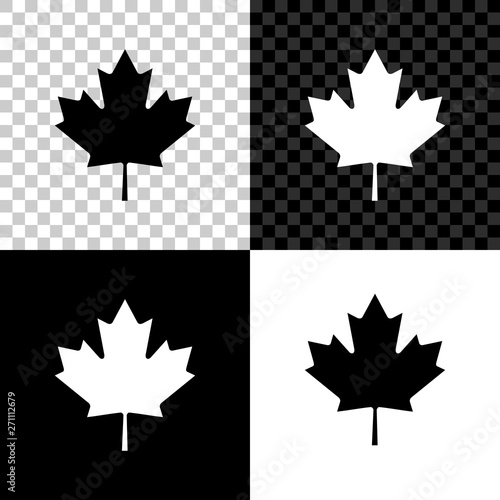Canvas Print Canadian maple leaf icon isolated on black, white and transparent background