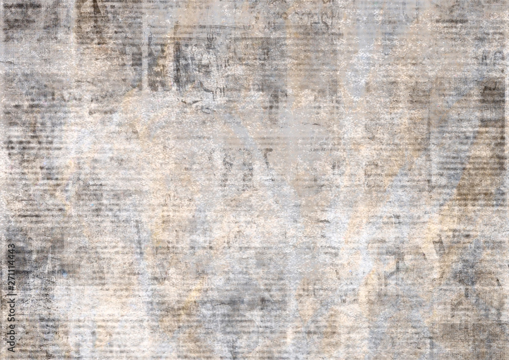 Fototapety, obrazy: Newspaper with old grunge vintage unreadable paper texture background