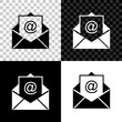 Mail and e-mail icon isolated on black, white and transparent background. Envelope symbol e-mail. Email message sign. Vector Illustration