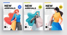 Urban Shopping Girls Banner Or Poster Set. Fashion Girls With Shopping Bags. Vector