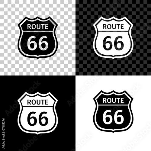 American road icon isolated on black, white and transparent background Canvas Print