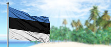 Waving Estonia Flag In The Sunny Blue Sky With Summer Beach Background. Vacation Theme, Holiday Concept.
