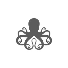 Octopus. Logo. Isolated Mollusk On White Background